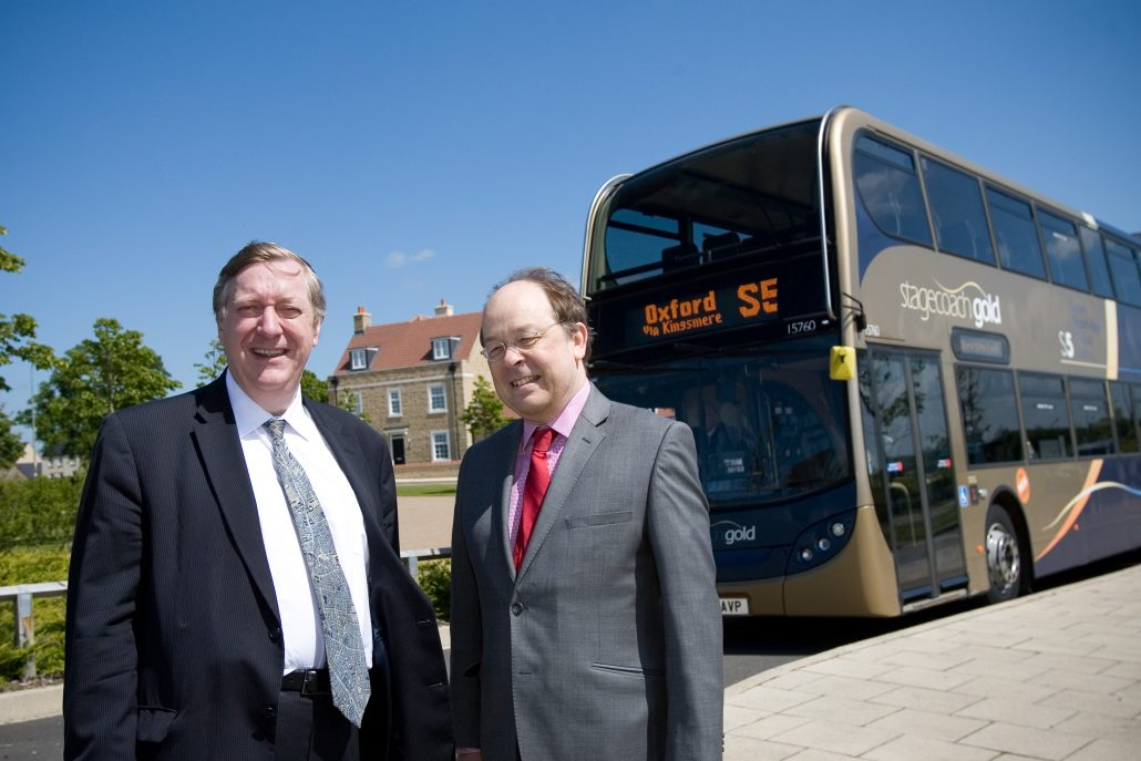 Launch of new bus route through Kingsmere Development - Bicester - 21/5/15  Lord Jamie Borwick pictured with Martin Sutton.